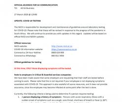 Business for SA: COVID-19 Testing