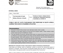 Department of Health: Public Use of Cloth Face-Masks for Everyone in South Africa During the COVID-19 Pandemic Situation