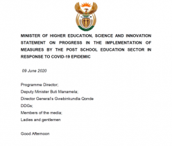 DHET Statement on Progress in the Implementation of Measures by the Post School Education Sector in Response to COVID-19 Epidemic
