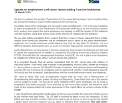 Department of Employment & Labour: Update on Employment & Labour Issues During Lockdown