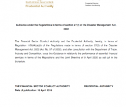 The Financial Sector Conduct Authority and the Prudential Authority: Guidance in relation to the performance of essential financial services in terms of the Regulations and the Joint Directive of 9 April 2020 as set out in the Schedule