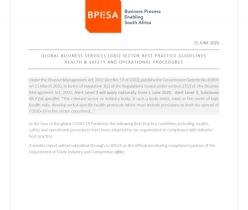 BPESA: Global Business Services Health & Safety Procedures 25 June 2020