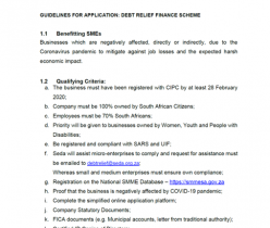 Department of Small Business Development: Guidelines for Application: Debt Relief Finance Scheme