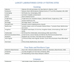 Lancet Laboratories COVID-19 Testing Sites in South Africa