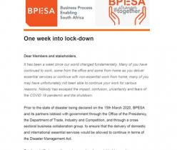 BPESA: COVID-19 Lockdown Week 1 Communique