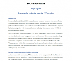 BSA: Buyer's Guide - Procedure for Evaluating Potential PPE Suppliers