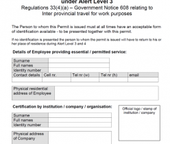 Permit to perform an essential or permitted service under Alert Level 3