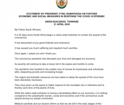 Statement by President Cyril Ramaphosa on Further Economic and Social Measures in Response the COVID-19 Epidemic, 21 April 2020