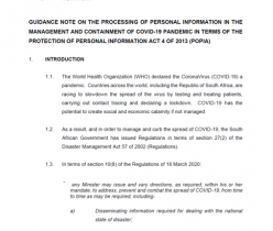 GUIDANCE NOTE ON THE PROCESSING OF PERSONAL INFORMATION IN THE MANAGEMENT AND CONTAINMENT OF COVID-19 PANDEMIC IN TERMS OF THE PROTECTION OF PERSONAL INFORMATION ACT 4 OF 2013 (POPIA)