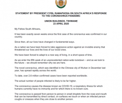 STATEMENT BY PRESIDENT CYRIL RAMAPHOSA ON SOUTH AFRICA'S RESPONSE TO THE CORONAVIRUS PANDEMIC 23 APRIL 2020