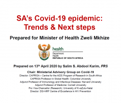 SA's Covid-19 Epidemic: Trends & Next Steps 13 April 2020