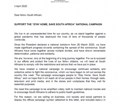 "The Presidency: Support the ""Stay Home, Save South Africa"" National Campaign"