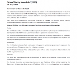 Tutwa Consulting Group: Weekly News Brief 28-30 April